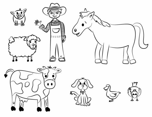 animais da quinta para pintar