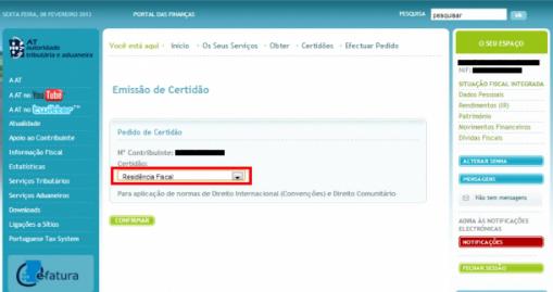 Certificado de Residência Fiscal - Passo 4