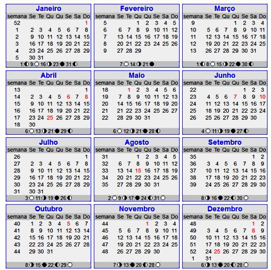 Novo Calendário 2012